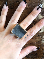 Nuance Druzy Grey Neutral Gold Ring