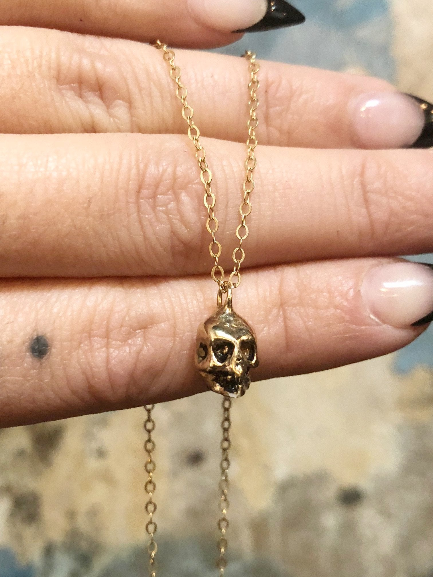 Hell Hound Jewelry Gold Skull Necklace