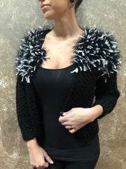 Independent Flavor Black Cardigan with White Shoulder Detail
