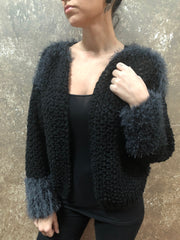 Independent Flavor Black Cardigan with Soft Grey Fringe Details
