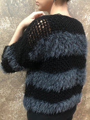 Independent Flavor Black Cardigan with Grey Fringe Stripes