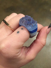 Nuance Blue Natural Stone Druzy Ring