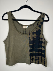 HE Collective Olive Dyed Loose Crop Top
