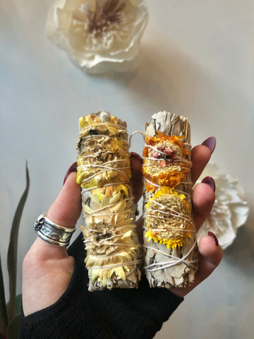 "White Sage with Decorated ""Paperflower"" Smudge Stick"
