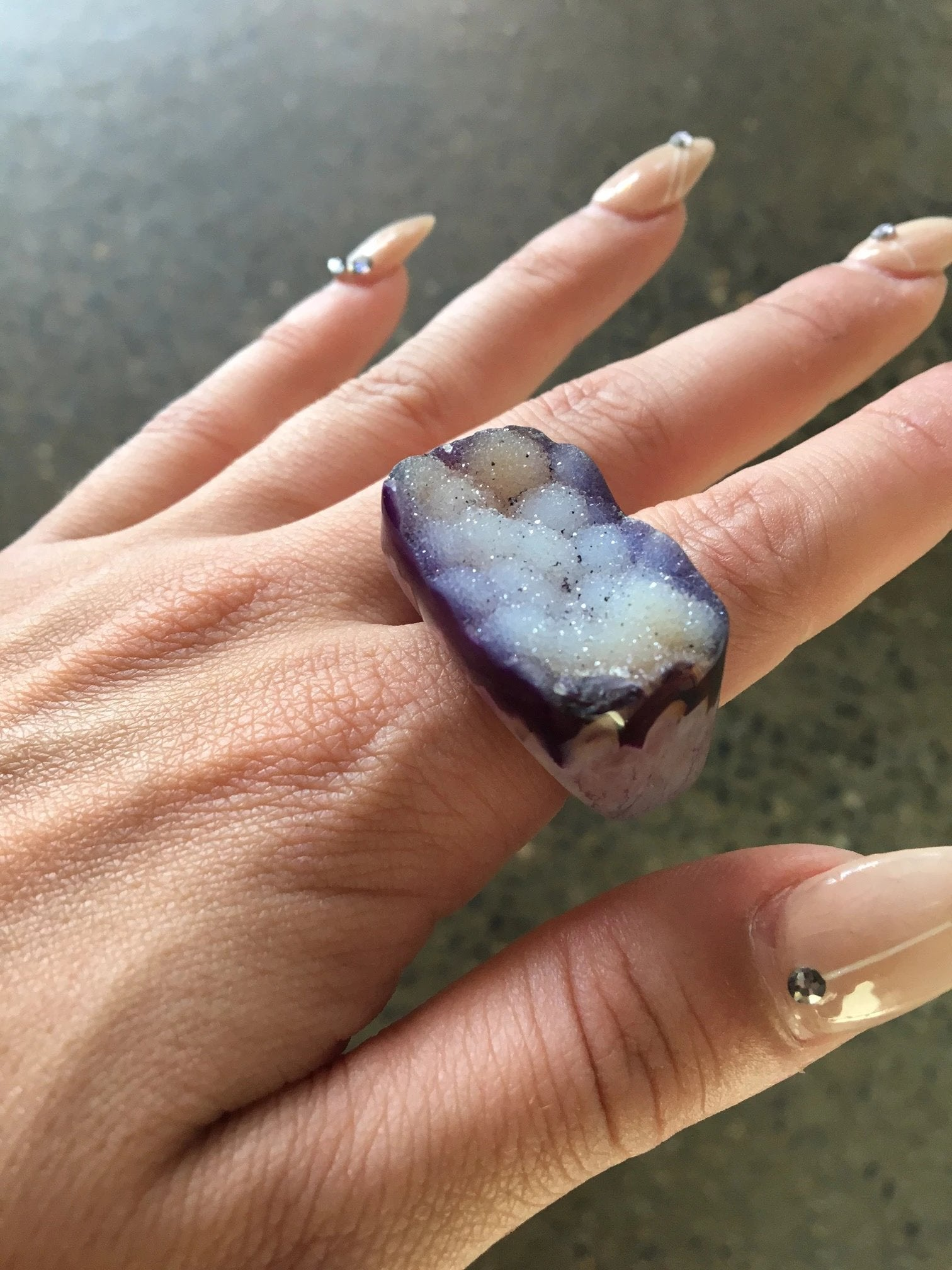 Nuance Purple Natural Stone Druzy Rings