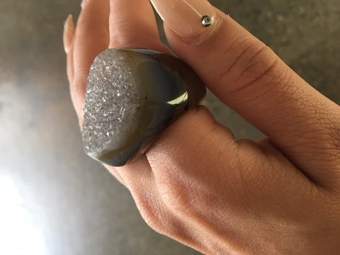 Nuance Natural Stone Druzy Rings - Mixed colours