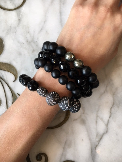 Musso Jewelry Faceted Onyx Bead Bracelet