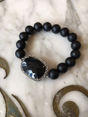 Musso Jewelry Matte Onyx Bead Bracelet with Faceted Onyx Stone Link