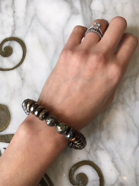 Musso Jewelry Pyrite Bracelet with 2 Round Faceted Pyrite Beads