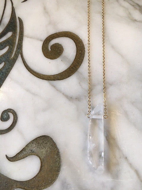 Toile Crystal and Gold Chain Necklace