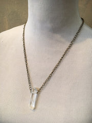 Toile Crystal and Brass Necklace with Toggle Closure