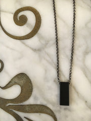 Moon + Arrow Black Rectangle Necklace