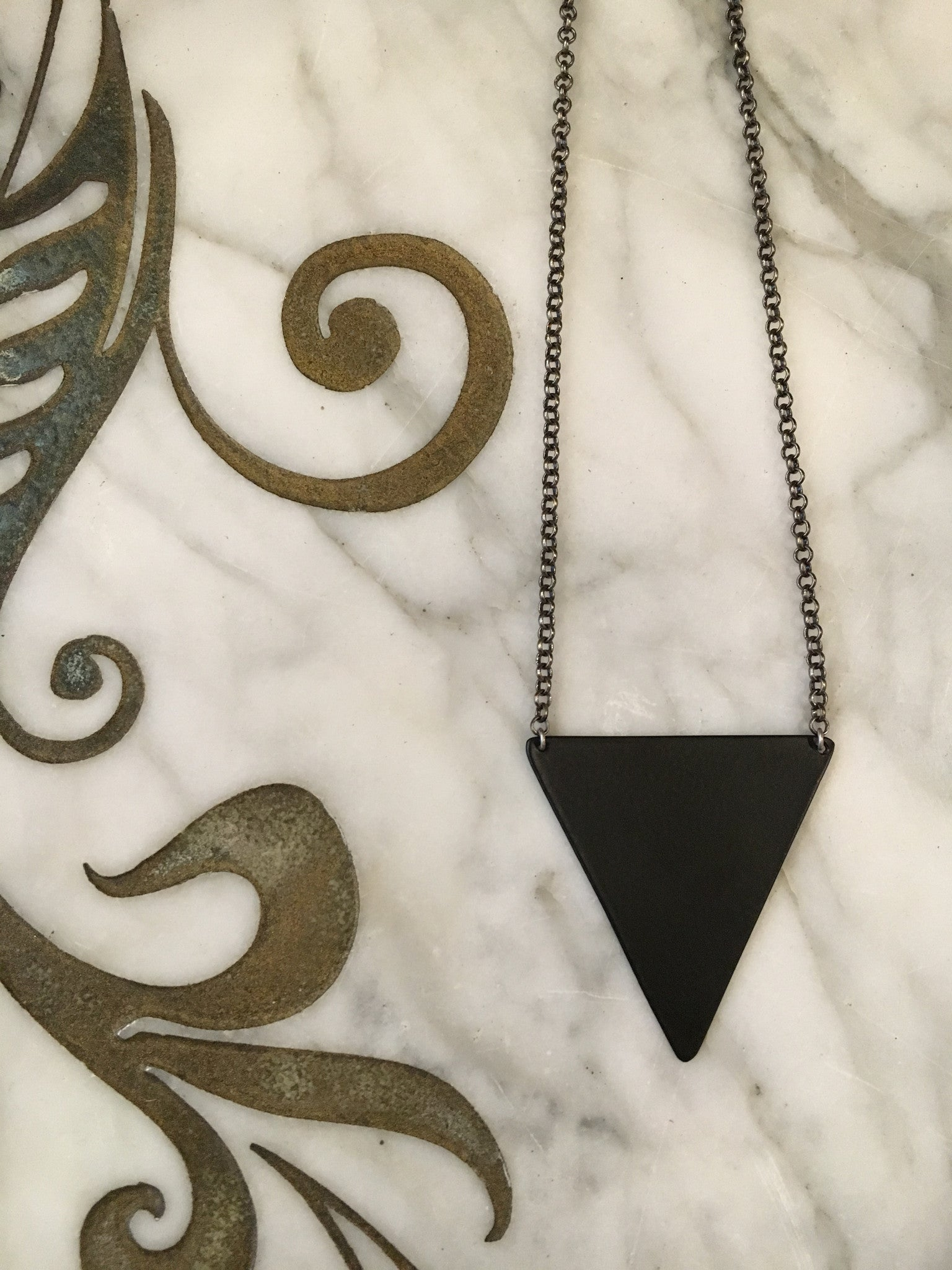 Moon + Arrow Black Triangle Necklace