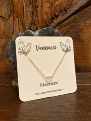 Vannucci Gold Moonstone Teardrop Necklace