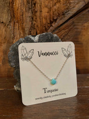 Vannucci Silver Turquoise Teardrop Necklace