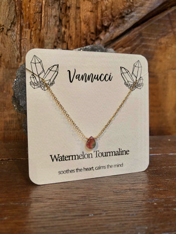 Vannucci Gold Watermelon Tourmaline Teardrop Necklace