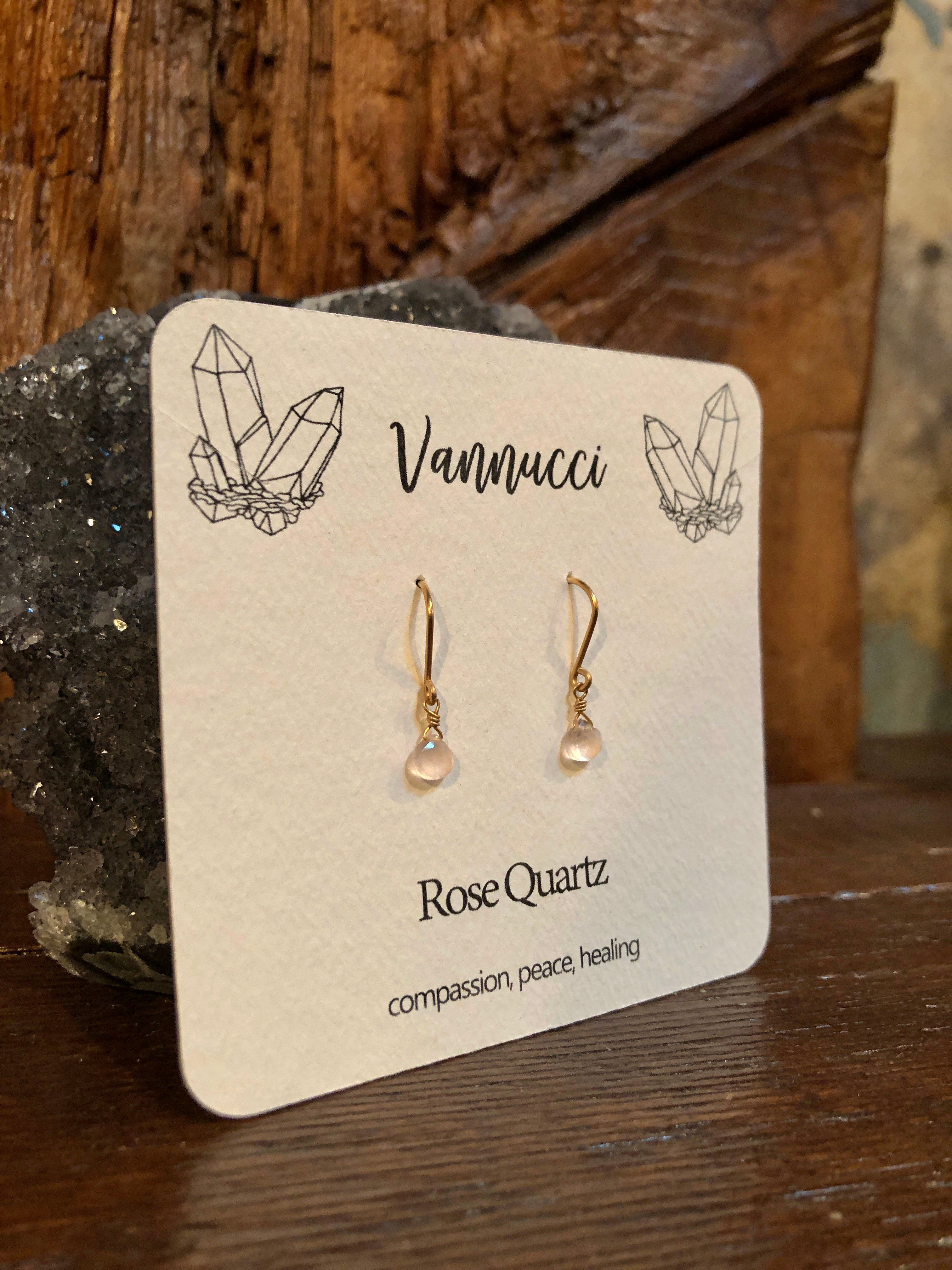 Vannucci Gold Rose Quartz Teardrop Earrings