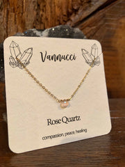 Vannucci Gold Rose Quartz Teardrop Necklace
