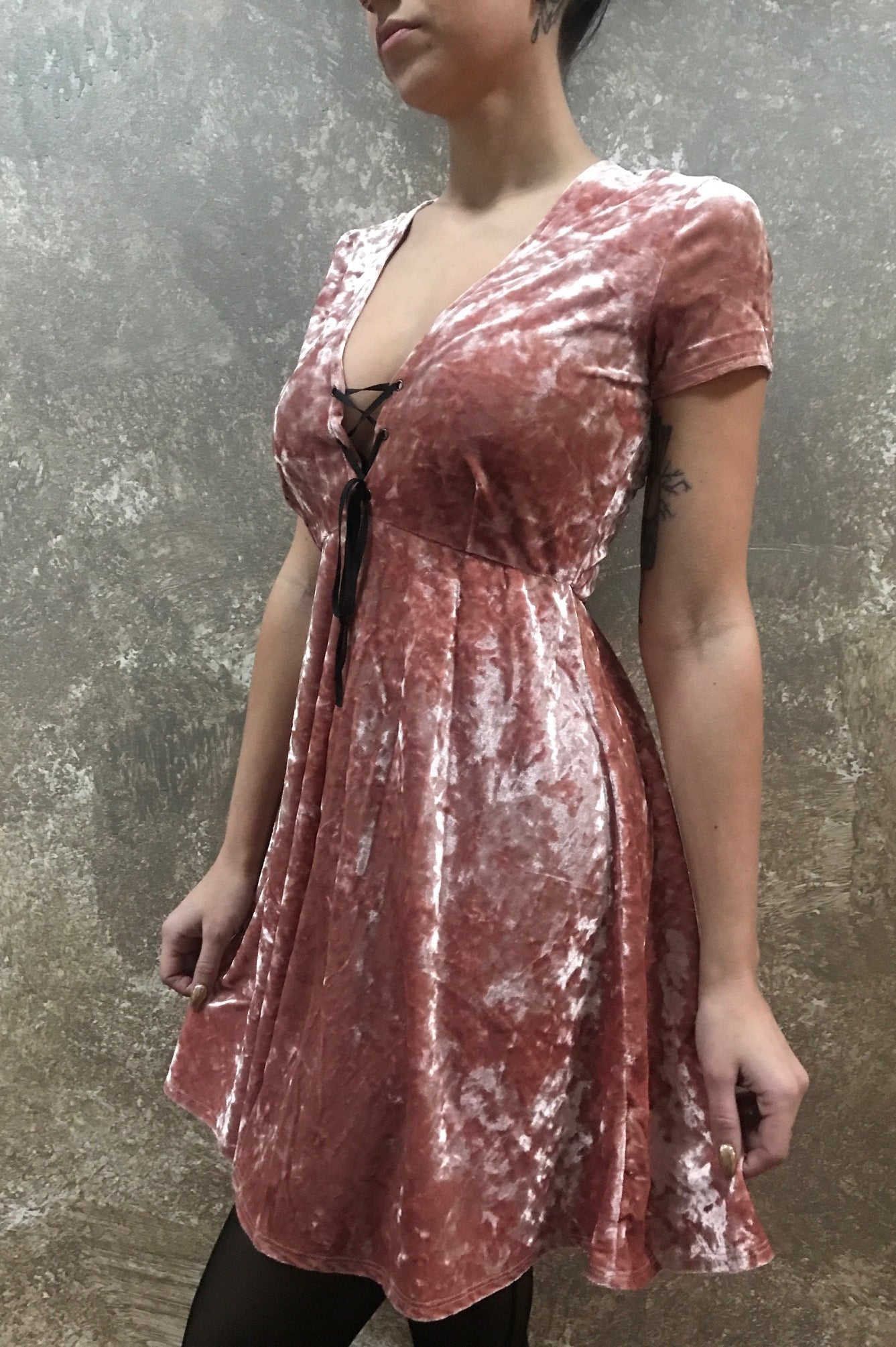 Tough Luv Corset Neck Crushed Velvet BabyDoll Dress in Dusty Pink