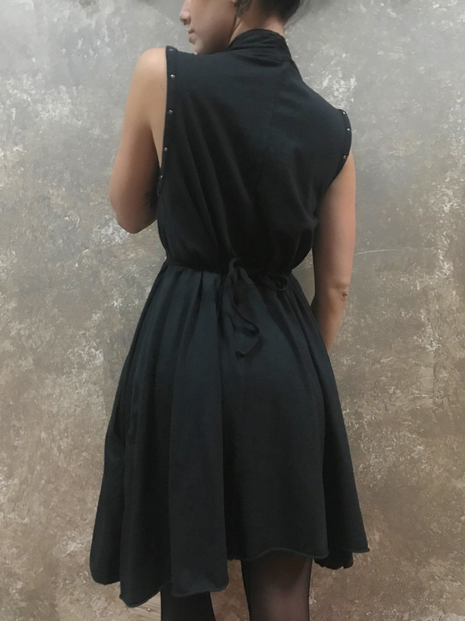 Tough Luv Goddess Dress Black w/ Studs
