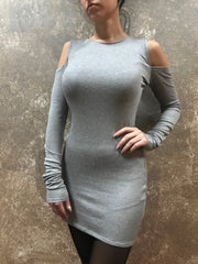 Bianca Rachele Slim Fit Cold Shoulder Dress in Grey