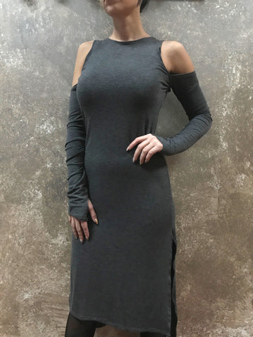 Bianca Rachele Midi Cold Shoulder Slit Dress in Grey