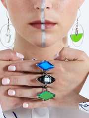 Idol Light Gem Cut Rhombus Ring Sci-Fi Stripe