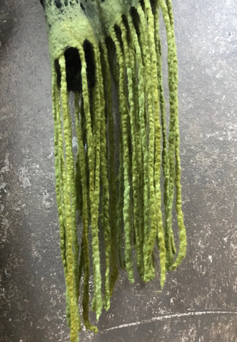 Blck Bts Felted Green Statement Scarf