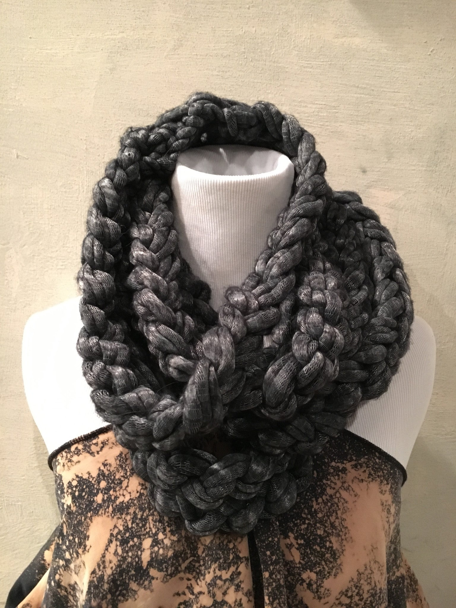 Crochet Strand Cowl Scarf Grey Cased Yarn