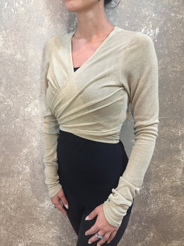 Bianca Rachele Taupe Wrap Cropped Sweater
