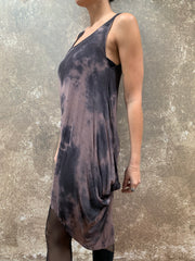 Bianca Rachele Dip Dyed Side Cowl Dress Mauve/Charcoal