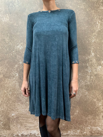 Tough Luv Acid Wash Grommet Dress Teal