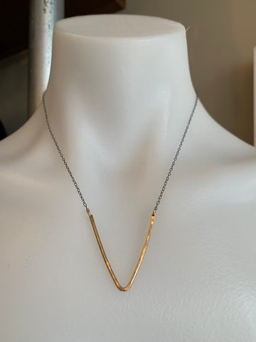 Vannucci Deep V Necklace Gold with Gunmetal Chain