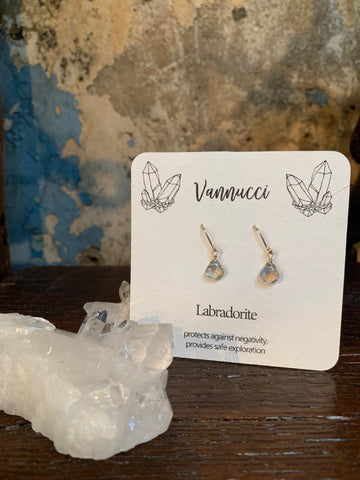 Vannucci Gold Labradorite Teardrop Earrings