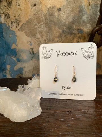 Vannucci Gold Pyrite Teardrop Earrings