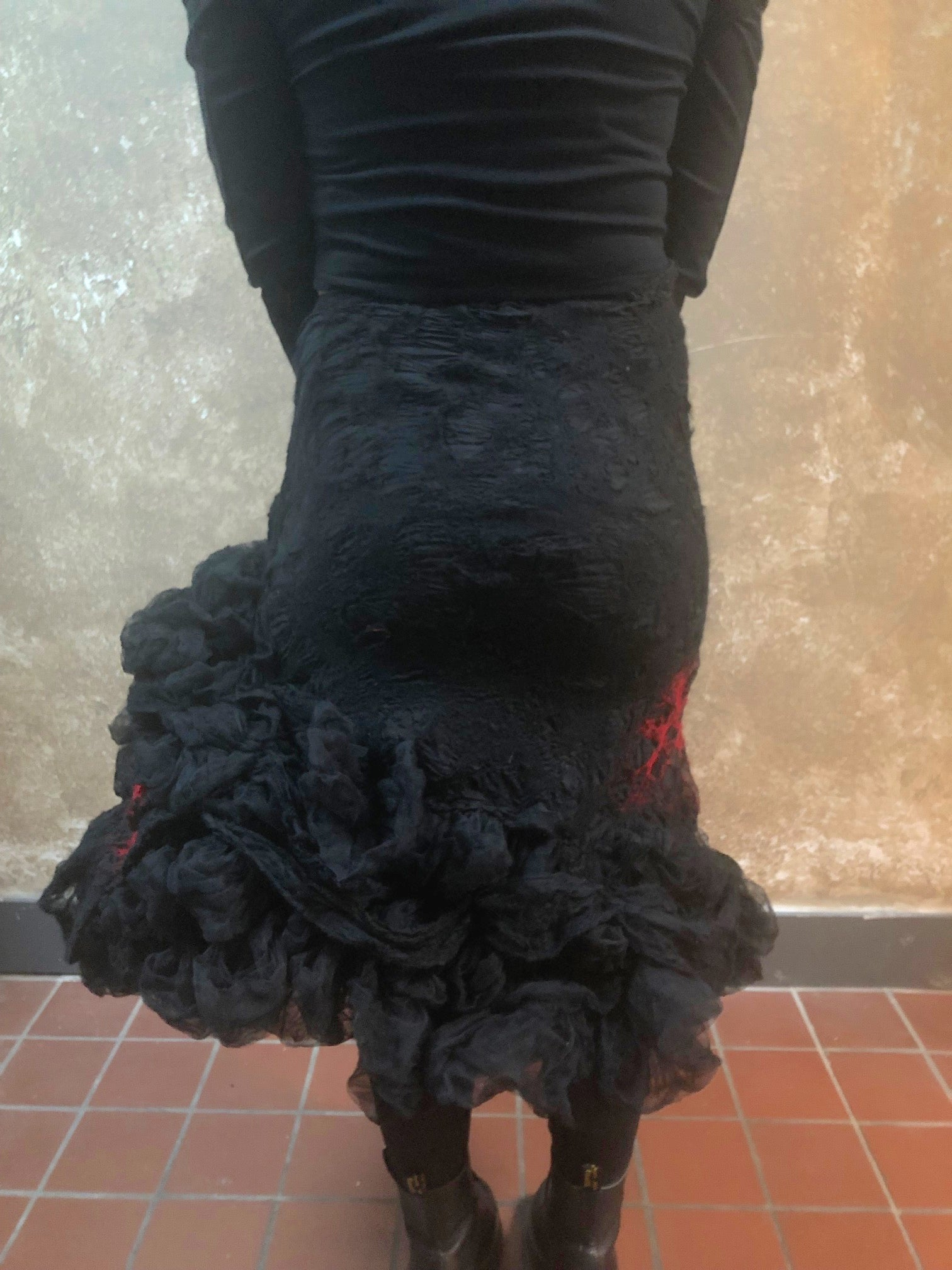 BlckBts Felted Red and Black Statement Skirt