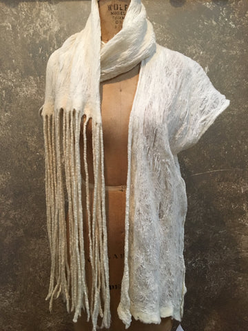 BlckBts Felted Cream One sleeve Shawl
