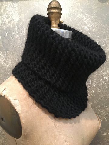 Hand Knit Black Cowl