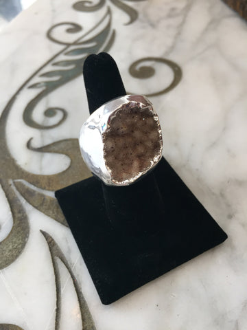 Nuance Sand Color Druzy Silver Plated Ring