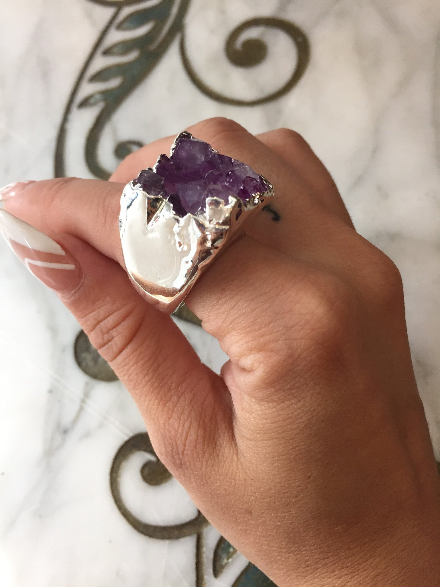 Nuance Purple Silver Plated Ring