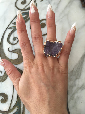 Nuance Purple Rose Gold Plated Ring