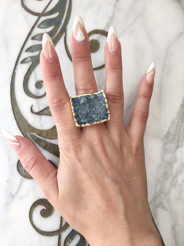 Nuance Blue Grey Gold Plated Ring