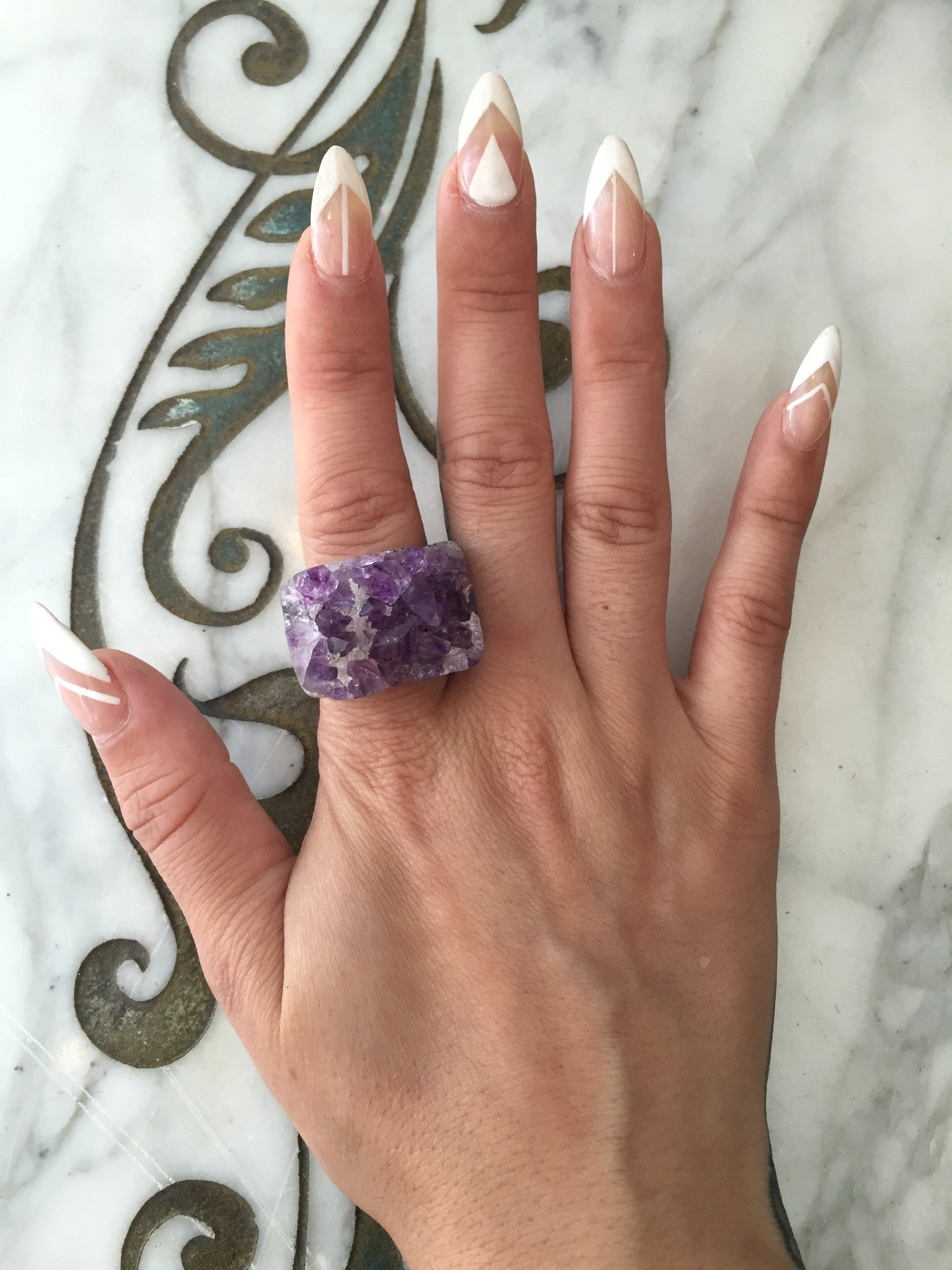 Nuance Purple Natural Stone Druzy Ring