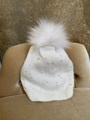 Moods and Madness Knit Pom Beanie ~ Bedazzled White