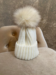Moods and Madness Knit Pom Beanie ~ White