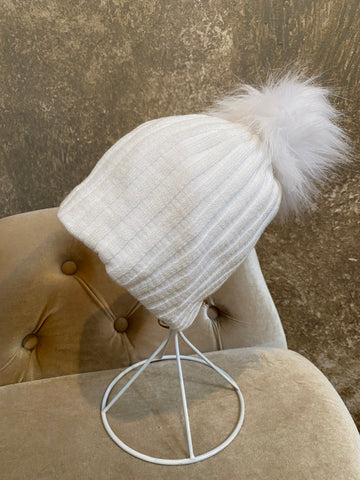Moods and Madness Knit Pom Beanie ~ White Glitter
