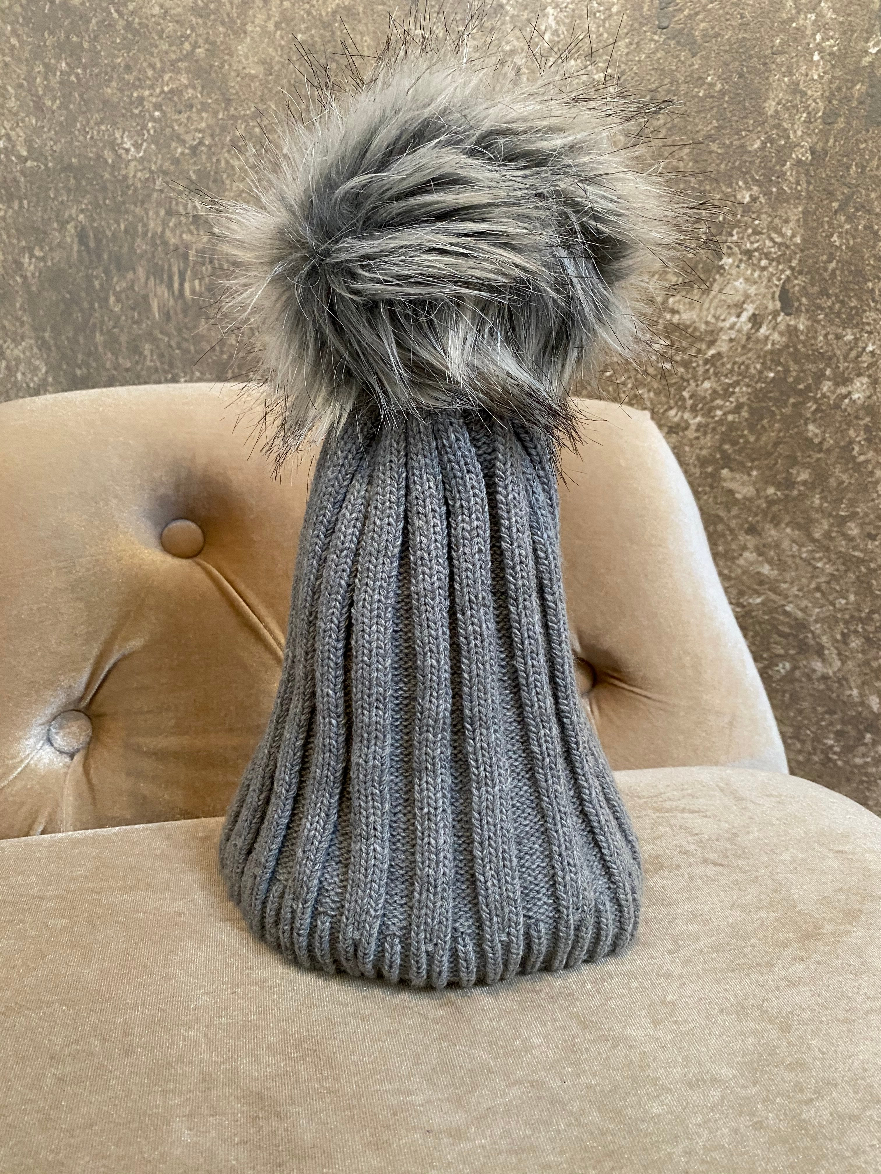 Moods and Madness Knit Ribbed Pom Hat ~ Grey