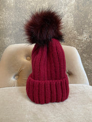 Moods and Madness Knit Pom Hat ~ Maroon