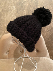 April Hand Crochet Black Hat with Pom