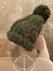 April Hand Crochet Green Hat With Pom